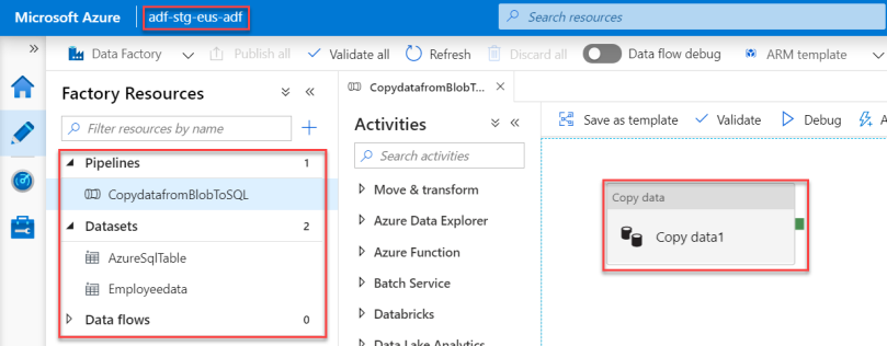 17.Completed Azure Data Factory Pipeline - Staging