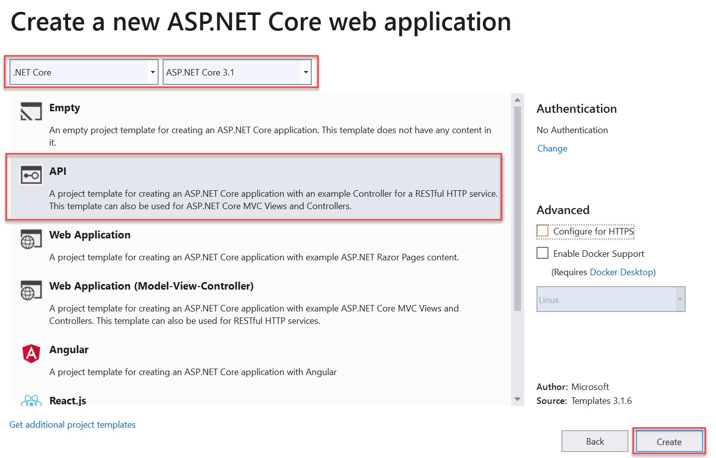 Azure Application Insights - Create a new ASP.NET Core Web API Application