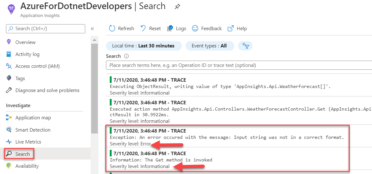 Azure Application Insights - View Traces