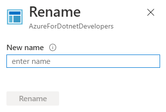 Application Insights - Overview - Rename popup