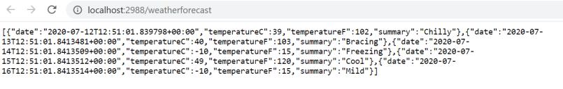 Azure Application Insights - Created Web API Application - Local API output
