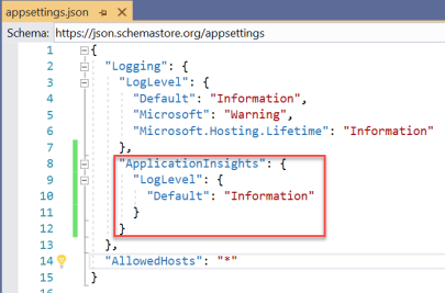 Azure Application Insights - App Settings File with ApplicationInsights Log Level