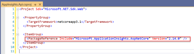Azure Application Insights - Project File with Microsoft.ApplicationInsights.AspNetCore Nuget Package