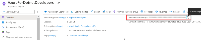 Azure Application Insights - Copy Instrumentation Key