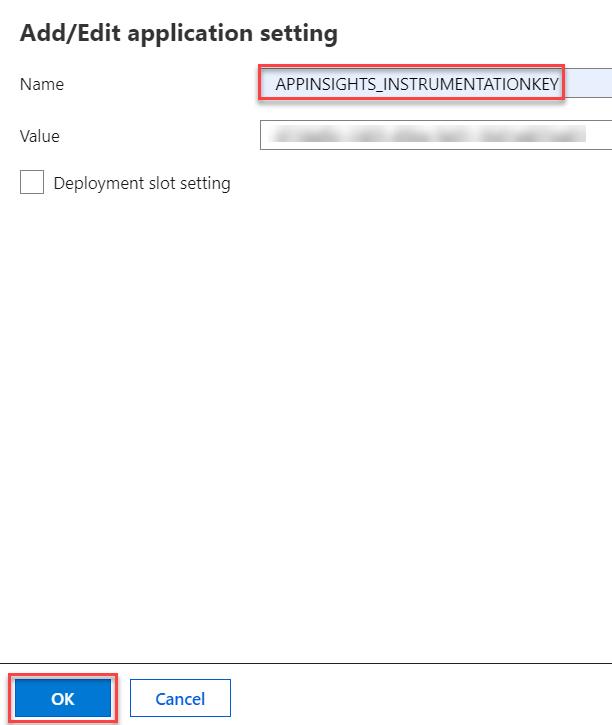 9. Azure Application Insights - Add App Settings - Instrumentation Key