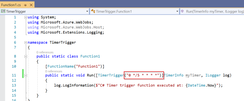 2-Visual Studio - Timer Trigger