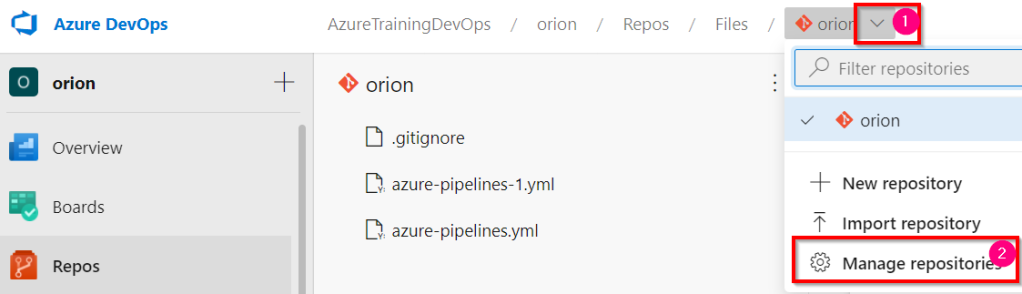 Azure DevOps - Manage Repositories