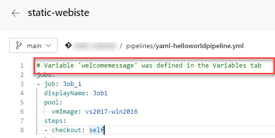 10 Azure DevOps - Convert Classic to YAML Pipelines - YAML Pipeline - Variable Comment