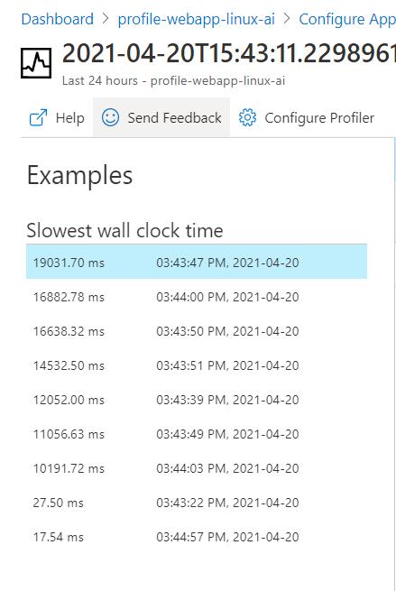 Azure App Service - Profile .Net Core App Service - Linux - App Insights - Profiler Session Examples