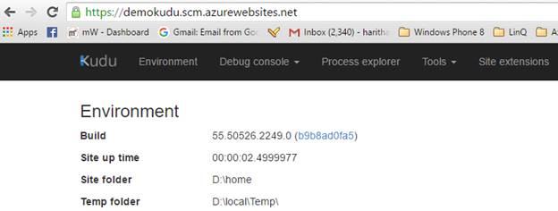 Azure App Service - Kudu - Environment