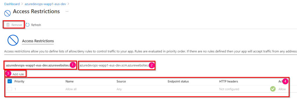 Azure DevOps - Access Restriction of Azure App Service using Azure Management Portal - Access Restrictions