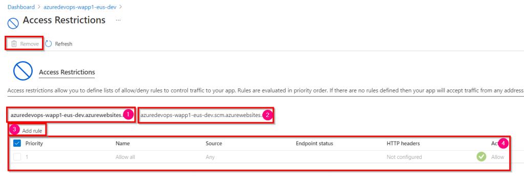 Azure DevOps - Access Restriction of Azure App Service using Azure Management Portal - Access Restrictions
