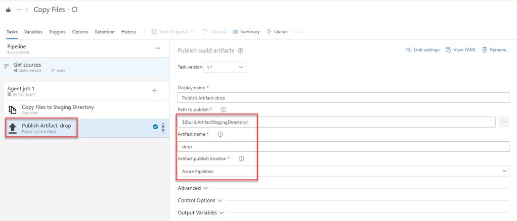 Azure DevOps - Build Pipelines - Publish Build Artifacts Task