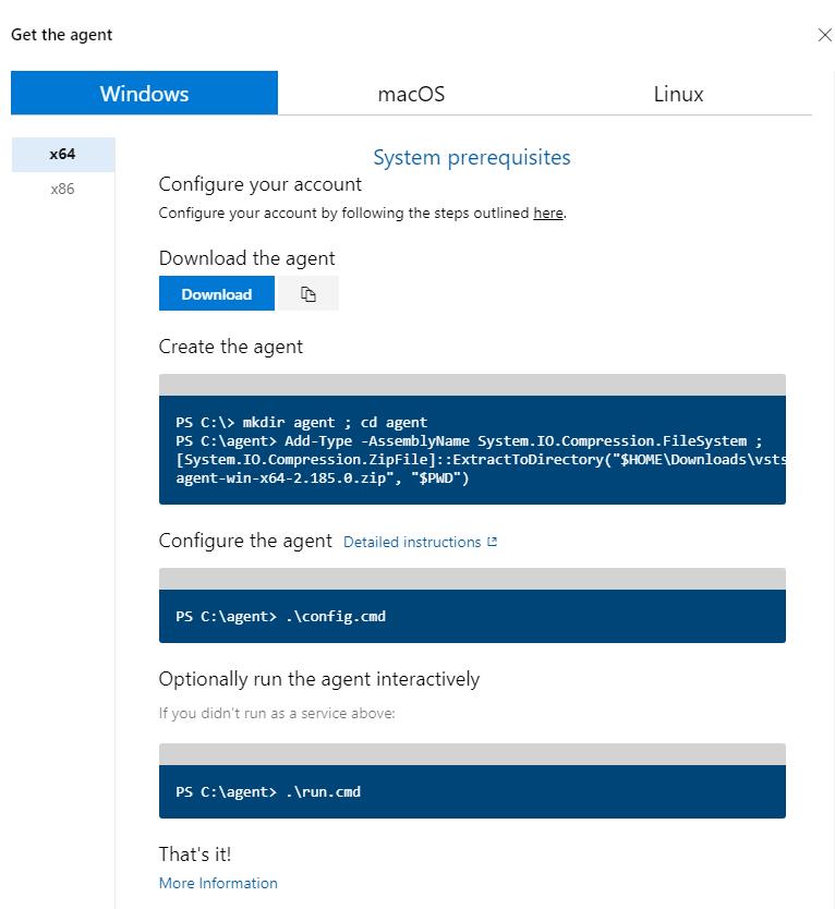 Azure DevOps - Self Hosted Build Agent - Agent Pools - Get an Agent