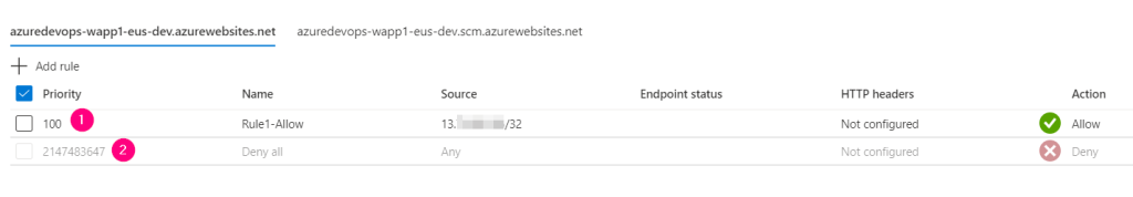 5. Azure DevOps - Access Restriction of Azure App Service using Azure Management Portal - Access Restrictions - AppService Tab