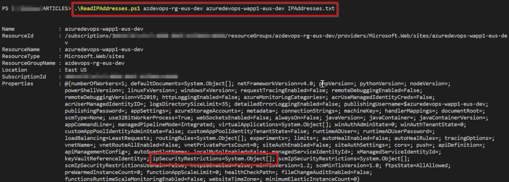 5. Azure DevOps - Bulk IP Address Restriction of Azure App Service dynamically using PowerShell - Output