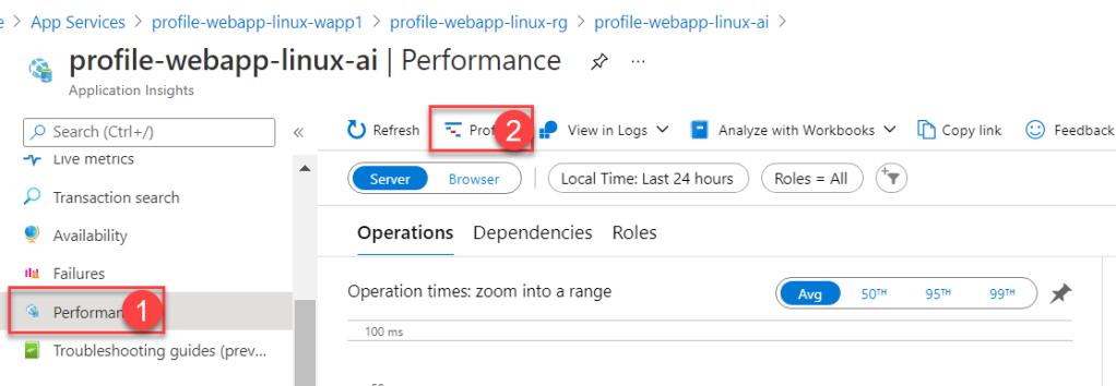 Azure App Service - Profile .Net Core App Service - Linux - App Insights - Performance Blade