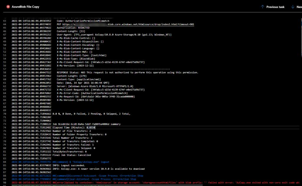 Azure DevOps - Release Pipelines - Azure File Copy - Version 4 error