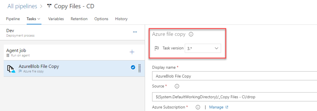 Azure DevOps - Release Pipelines - Azure File Copy - Version 3