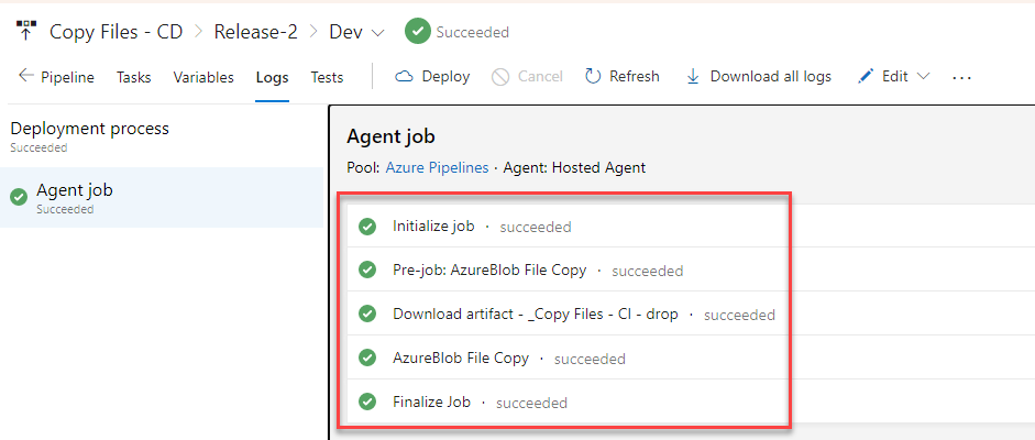 Azure DevOps - Release Pipelines - Successful Release
