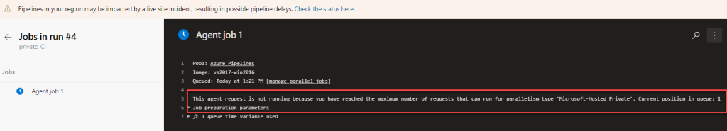 Azure DevOps - This agent request is not running because you have reached the maximum number of requests