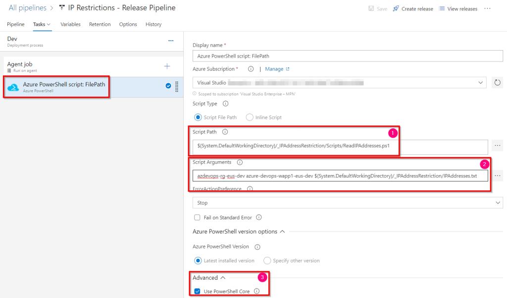 Azure DevOps - Automate Bulk IP Address Restriction of Azure App Service dynamically using PowerShell & Azure DevOps Pipeline - Azure Power shell - Pass Parameters